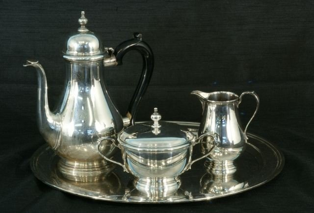 23: STERLING SILVER TIFFANY TEA SET WITH TRAY