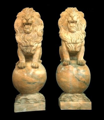 97: PAIR OF CARVED MARBLE LION STATUES