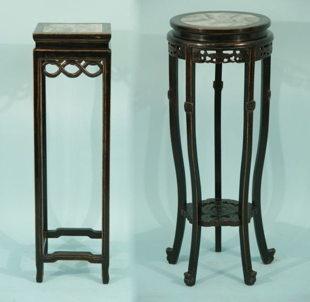 3: TWO BLACK LAQUERED ORIENTAL STANDS WITH MARBLE TOP