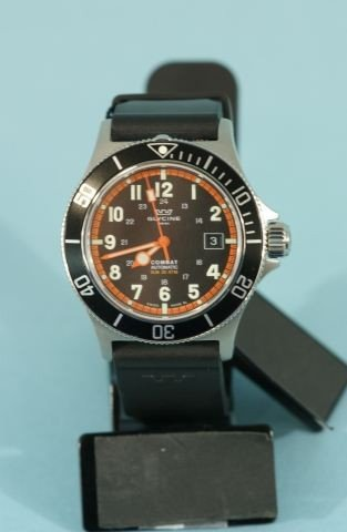 5: GLYCINE COMBAT WATCH WITH ORANGE AND BLACK FACE