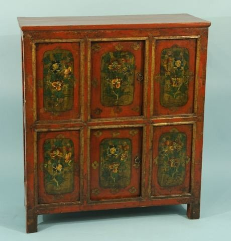 7: ANTIQUE ORIENTAL RED LACQUER CABINET