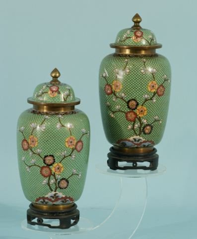 8: PAIR OF GREEN CHINESE CLOISONNE TEMPLE JARS