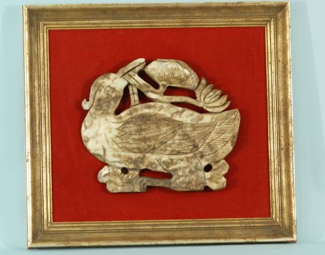 10A: FRAMED CHINESE JADE PLACQUE OF A MANDRIAN DUCK