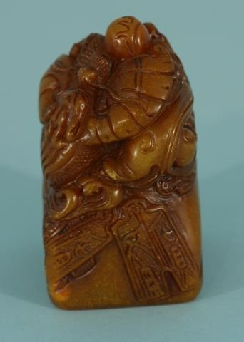 10C: LARGE EXPERTLY CARVED CHINESE SHOUSHAN STONE SEAL