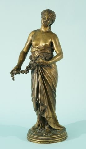 13: 19th CENTURY BRONZE STATUE OF LADY BY MAROUESTE