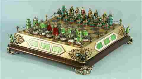 25:  ENAMEL & GILDED HUNGARIAN STERLING CHESS SET