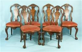 45: SET OF SIX DUTCH QUEEN ANNE STYLE CHAIRS