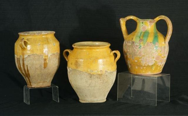 3: THREE ANTIQUE CERAMIC GLAZED JARS
