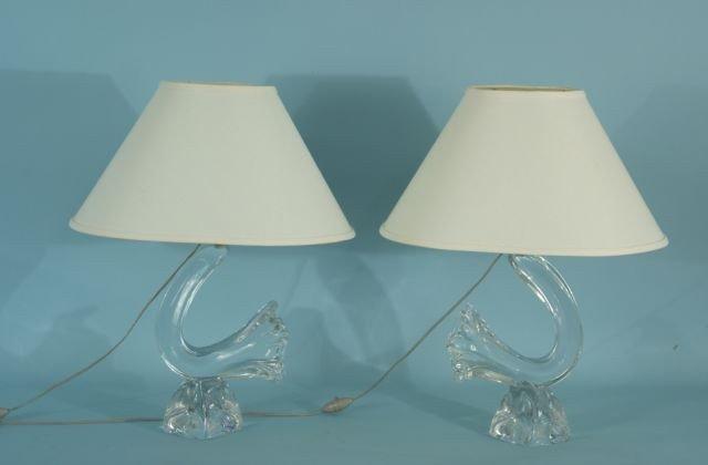 11: PAIR OF DAUM CRYSTAL LAMPS, CIRCA 1960's