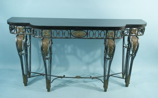 12: MAITLAND-SMITH WROUGHT IRON CONSOLE WITH TILED MAR