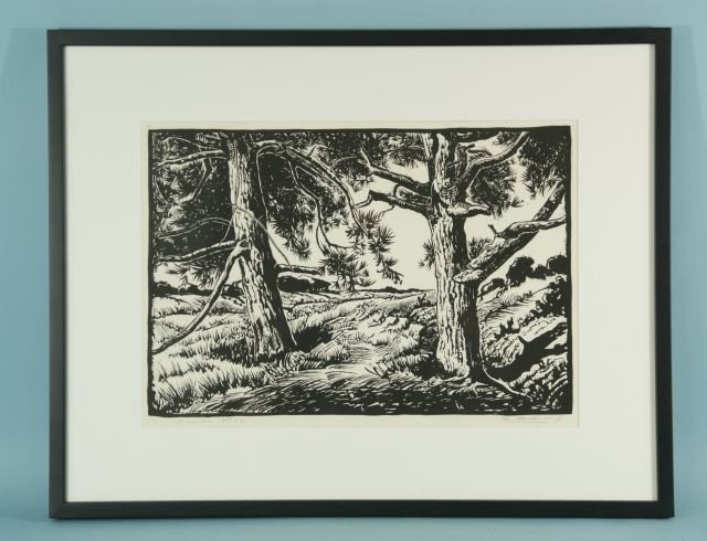 13: WOOD CUT PRINT IN BLACK/WHITE TREES  AND FIELD