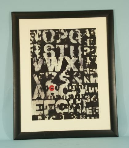 14: FRAMED PRINT OF ABSTRACT ALPHABET
