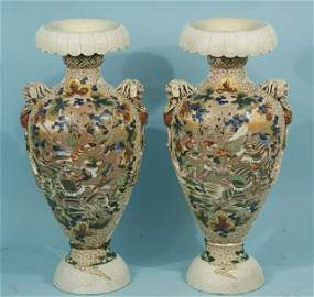 25: PAIR OF ANTIQUE JAPANESE SATSUMA URNS, CIRCA 1900