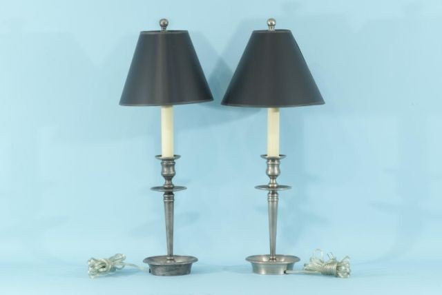 1: PAIR OF WHITE BRASS CANDLESTICK LAMPS
