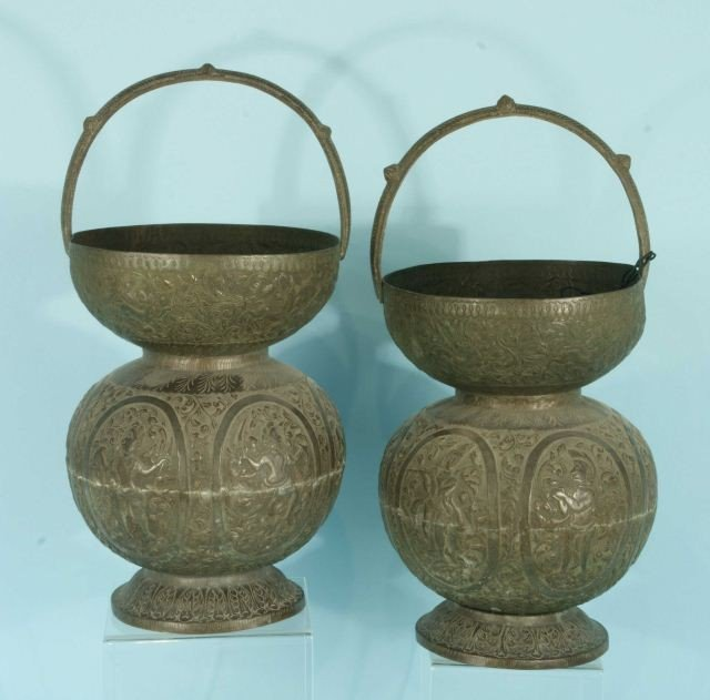 3: PAIR OF ANTIQUE INDIAN REPOUSSE BRASS URNS WITH HA
