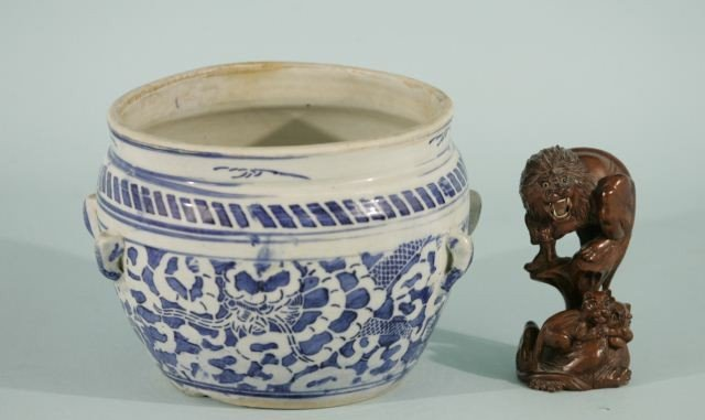 4: BLUE & WHITE PORCELAIN CACHEPOT & CHINESE CARVING