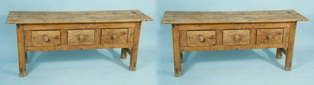 7: PAIR OF PINE RECYCLED LOW HUNT BOARD TABLES