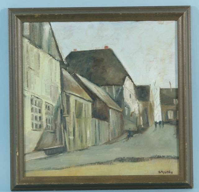 """16: SNOWDEN """"ROW OF HOUSES"""" OIL ON CANVAS PAINTING"""