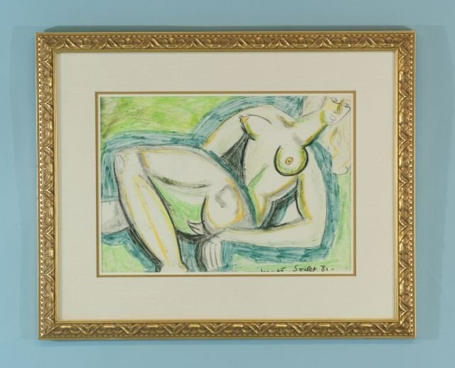 """18: SOULET """"NUDE FEMALE"""" ACRYLIC ON PAPER"""