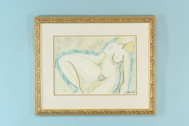 """19: SOULET """"FEMALE NUDE"""" ACRYLIC ON PAPER, 1982"""