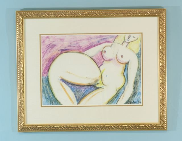 """20: SOULET """"NUDE FEMALE"""" ACRYLIC ON PAPER"""