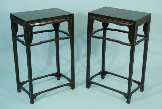 24: PAIR OF ANTIQUE CHINESE BLACK LACQUER TABLES