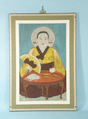 KOREAN PORTRAIT PAINTING OF A SEATED BUDDHIST NUN