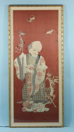 GILT FRAME AND MATTED CHINESE EMBROIDERY ON SILK