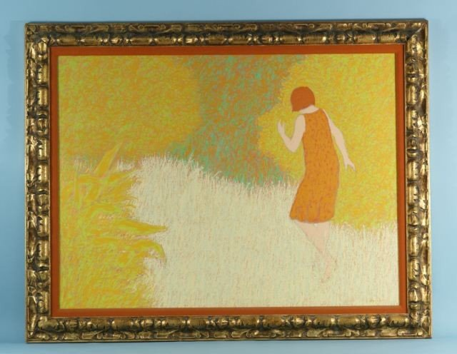 """80: WILLIAM ANZALONE """"GIRL ON PATH"""" PAINTING"""