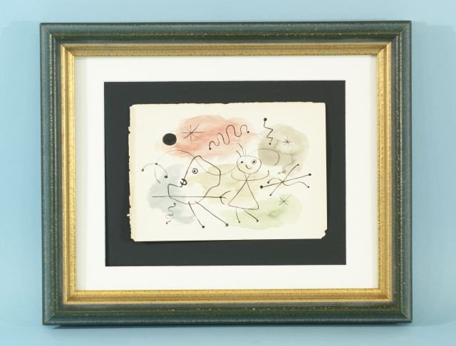 """80C: JOAN MIRO """"UNTITLED ABSTRACT"""" WATERCOLOR, INK"""