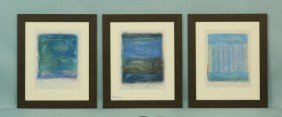 "TRYPTIC SET OF JAMES W. BYRD ""ABSTRACT"" PASTELS"
