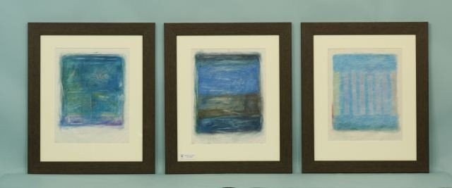 """80D: TRYPTIC SET OF JAMES W. BYRD """"ABSTRACT"""" PASTELS"""
