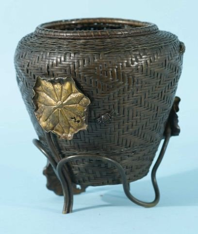 81: ANTIQUE JAPANESE WOVEN BRONZE BASKET WITH LOTUS
