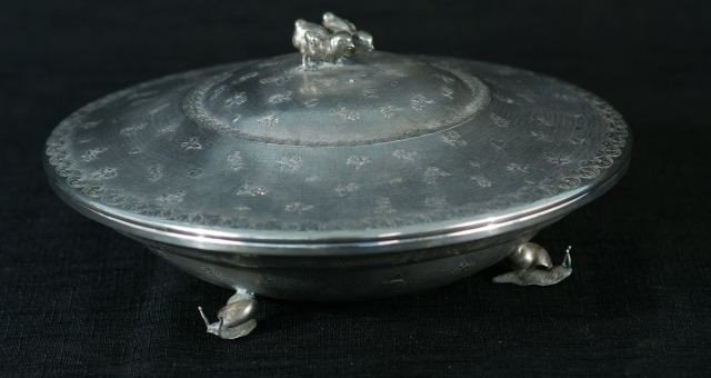 """85: LIDDED CONTINENTAL SILVER BOWL STAMPED """"800"""""""