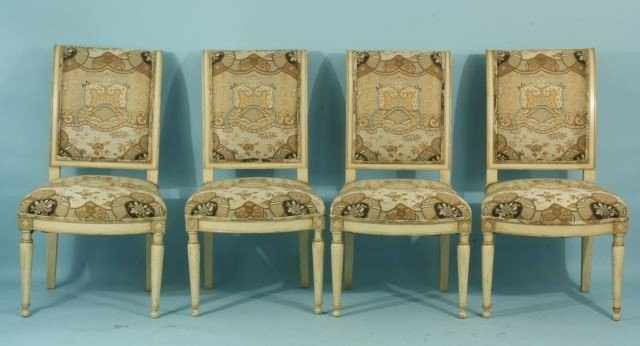 88: SET OF FOUR VINTAGE FRENCH PAINTED GAME CHAIRS