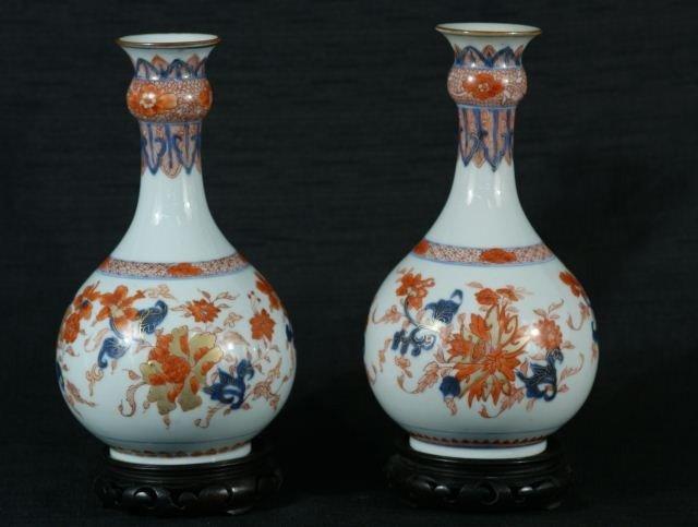 97: PAIR OF CHINESE IMARI VASES, CIRCA 1880