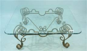 126 WROUGHT IRON BASE COFFEE TABLE WITH GLASS TOP