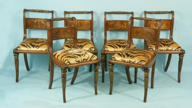 88A: SET OF SIX ANTIQUE REGENCY STYLE DINING CHAIRS