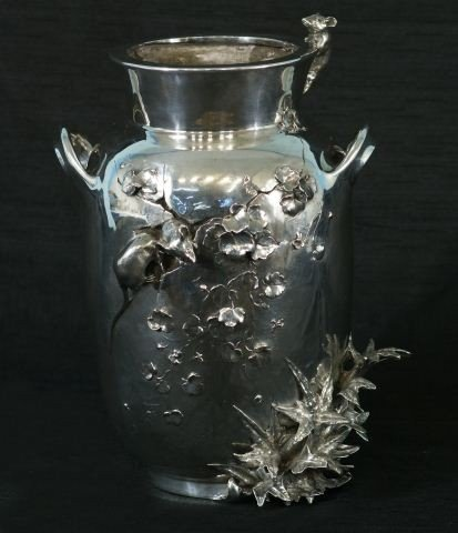 29B: 1860'S STERLING SILVER AUGUST L'HOUVE VASE