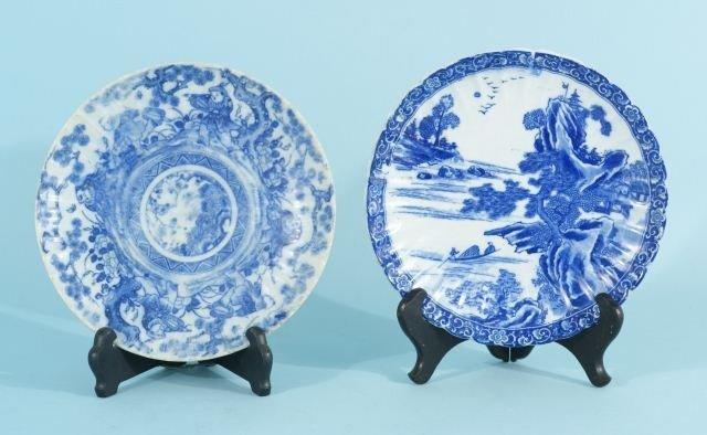 7: TWO BLUE & WHITE TRANSFERWARE PORCELAIN PLATES