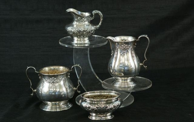 13: TWO SETS OF STERLING SILVER SUGAR & CREAMERS