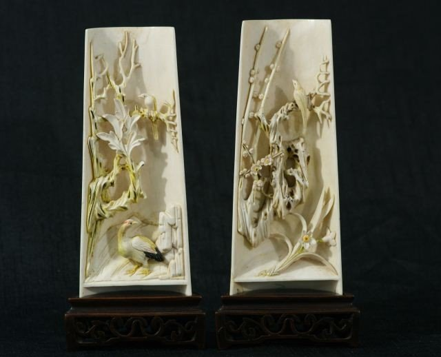 58: TWO CARVED IVORY GARDEN SCENES