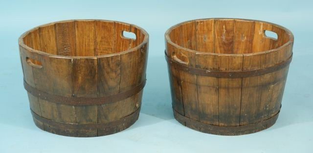 6: PAIR OF CHINESE GARDEN BARREL PLANTERS