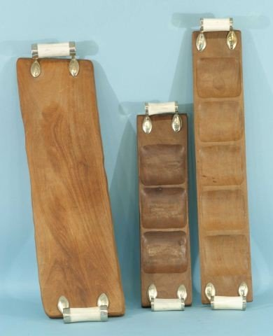 7: LOT OF THREE WOODEN TRAYS WITH BONE HANDLES