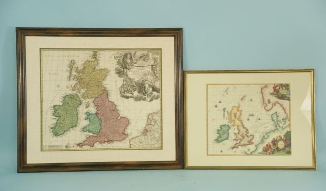 10: TWO FRAMED AND MATTED MAPS