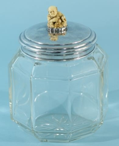 11: CUT GLASS JAR W/STERLING SILVER LID & IVORY NETSUKE