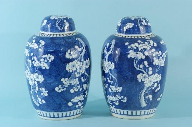 13: PAIR OF 19th CENTURY BLUE & WHITE  GINGER JARS