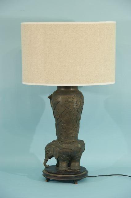 15: ANTIQUE CHINESE BRONZE ELEPHANT MOTIF LAMP