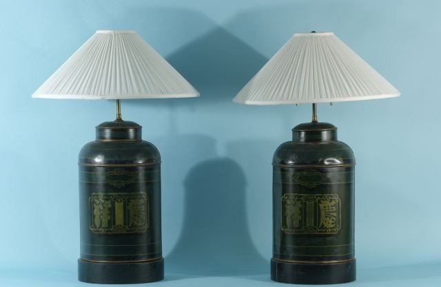 17: PAIR OF ANTIQUE TOLE TEA CANISTERS LAMPS