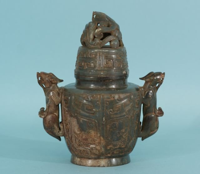 19: CHINESE SOAPSTONE LIDDED TEMPLE URN